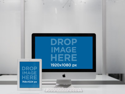 iPad and iMac Responsive Mockup at an Office Desk a12340