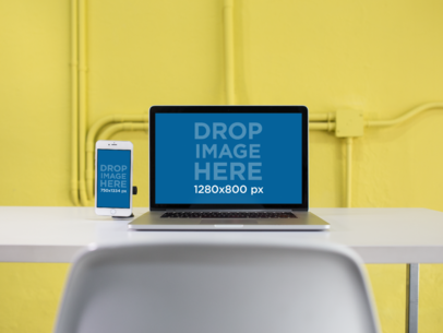 MacBook and iPhone 6 Mockup in a Modern Yellow Office a12369