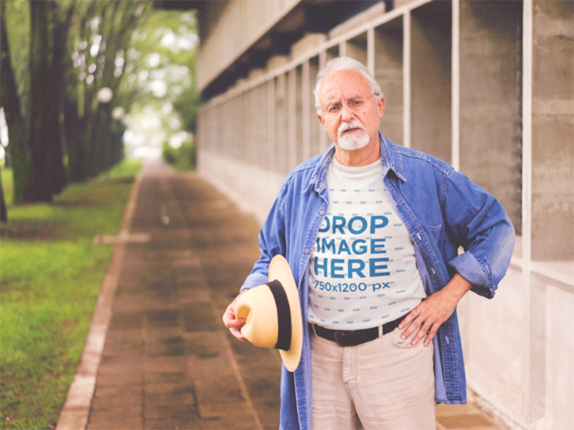 T-Shirt Mockup of a White Senior Man Out by a Garden a12388
