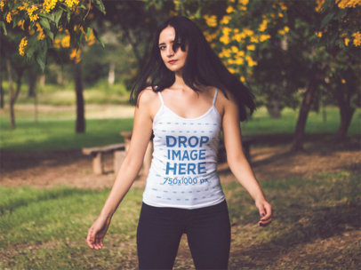 Scoop Tank Top Mockup of a Lovely Girl in a Park a12380