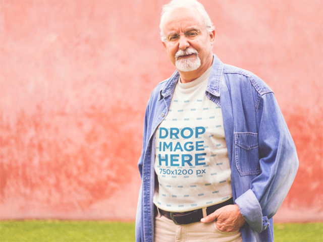 Elder Man Wearing a T-Shirt with a Denim Long Sleeve Mockup a12393