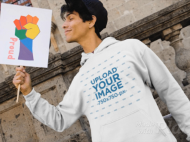 Apparel Video of a Man with a Hoodie Holding a Pride Sign 33355