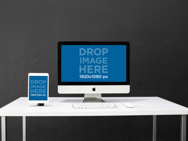 White iPad Mini and iMac on a Work Desk Mockup a12374