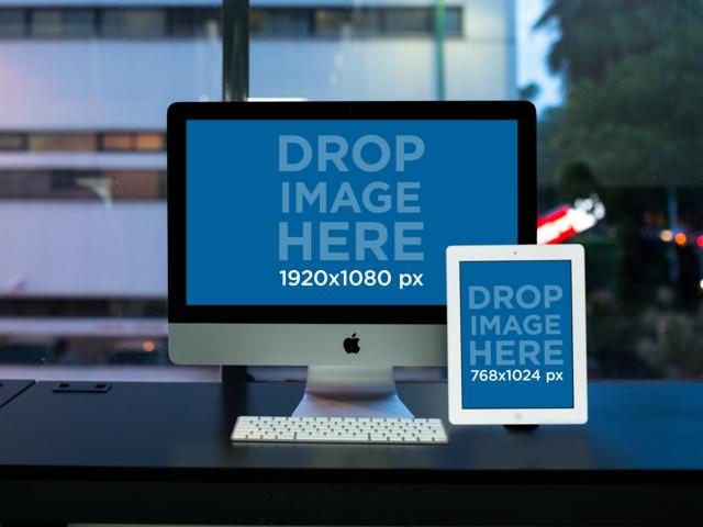 Late Night at the Office iMac and iPad Mockup a12344