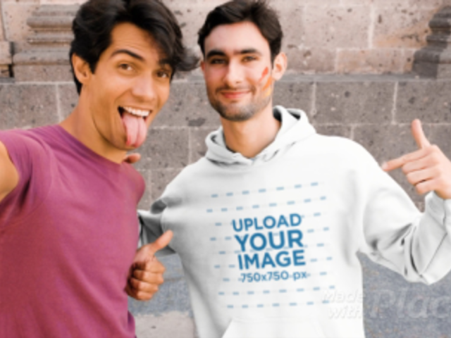 Hoodie Video Featuring a Happy LGBT Couple Taking a Selfie 33360