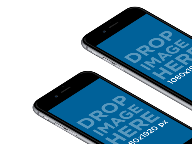 Two iPhone 6 Plus Lying on a Surface in Angled Portrait Position PNG Mockup a12409