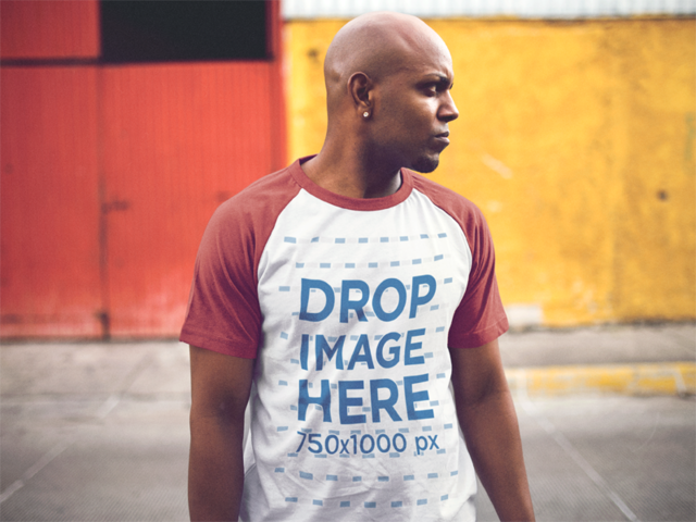 Raglan Tee Mockup of a Young Handsome Black Man 12475a