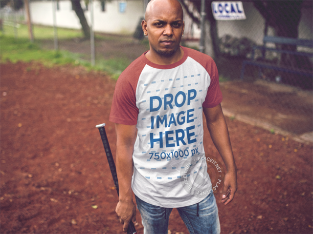 Raglan Tee Mockup of a Young Black Man at a Baseball Field b12472