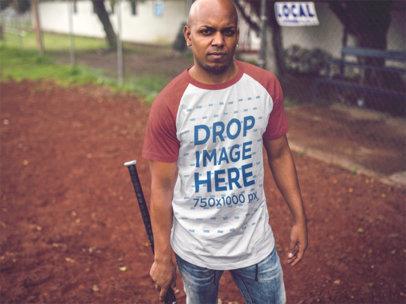Raglan Tee Mockup of a Young Black Man at a Baseball Field b12472