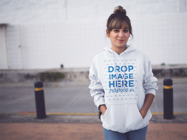 Hoodie Mockup of a Young Trendy Girl on the Street a12458