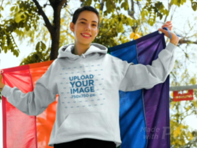 Hoodie Video of a Woman with a Pride Flag Painted on Her Face 33378