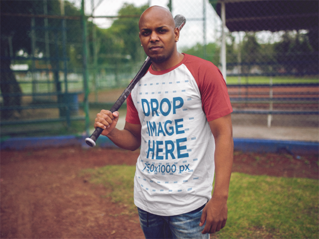Raglan Tee Mockup of a Guy Playing Baseball d12470