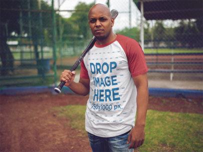 Raglan Tee Mockup of a Guy Playing Baseball d12470