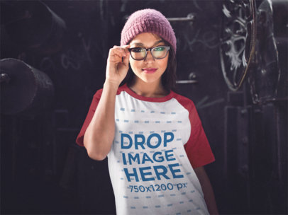 Raglan T-Shirt Mockup of a Trendy Girl Wearing a Beanie a12501