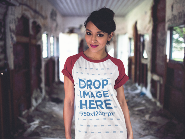 Raglan Tee Mockup of a Young Woman Inside an Abandoned Train a12508