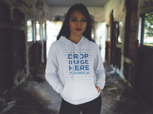 Pullover Hoodie Mockup of a Girl Inside an Abandoned Wagon a12486