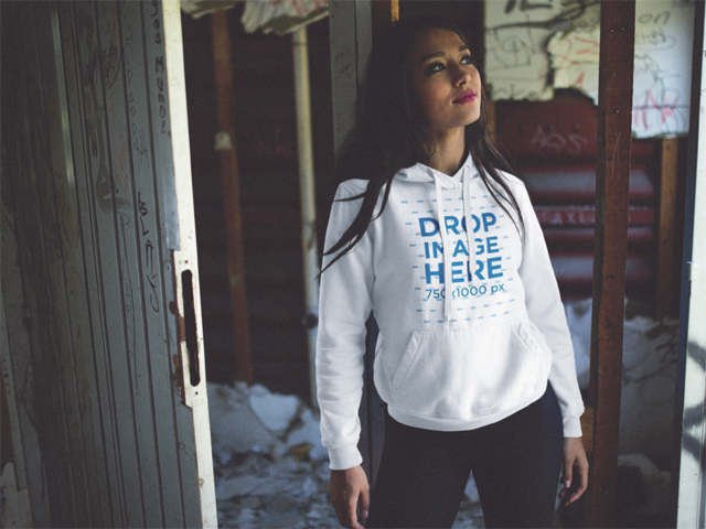 Pullover Hoodie Mockup of a Pretty Girl Daydreaming c12487