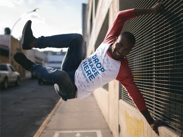 Raglan Tee Long Sleeve Mockup of a Guy Doing Parkour a12559