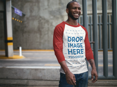 Raglan T-Shirt Mockup of a Black Guy Smiling Over to Someone a12549b