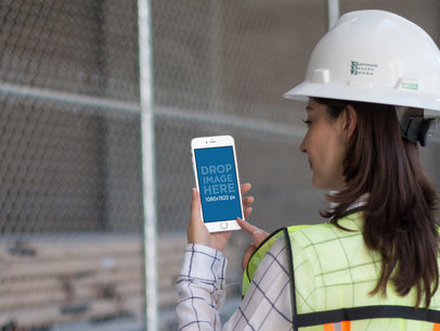 White iPhone Construction Mockup of a Woman Civil Engineer a12575