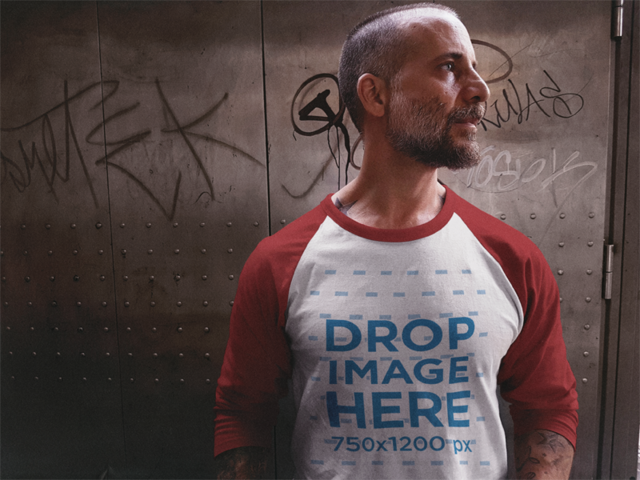 Mockup of a Raglan Tee Featuring a Man in an Elevator 12617a