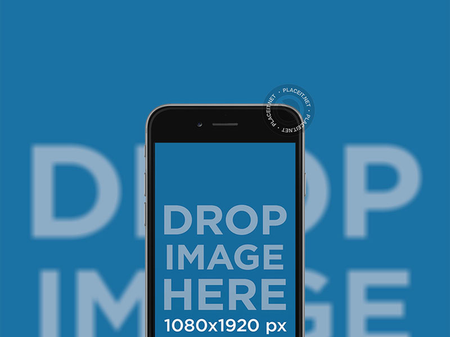 Black iPhone 7 Plus Mockup in Frontal View Portrait Position with Backdrop a12628
