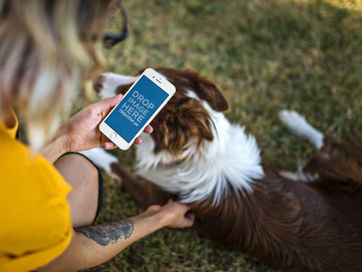 Young Woman Out in the Park with her Dog iPhone 7 Mockup 12806wide