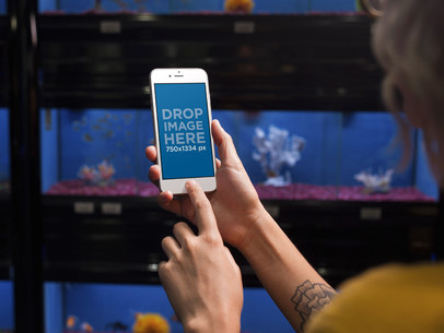 iPhone 6 Mockup of a Woman at an Aquarium 12808WIDE
