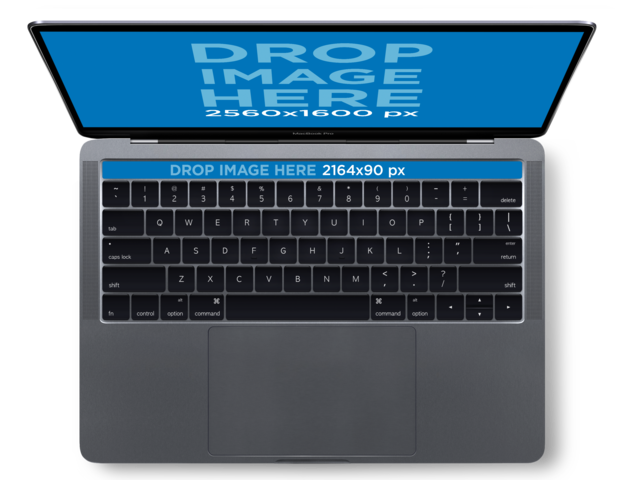 MacBook Pro with Touch Bar Mockup Over a Transparent Background (Top Shot View) a12833