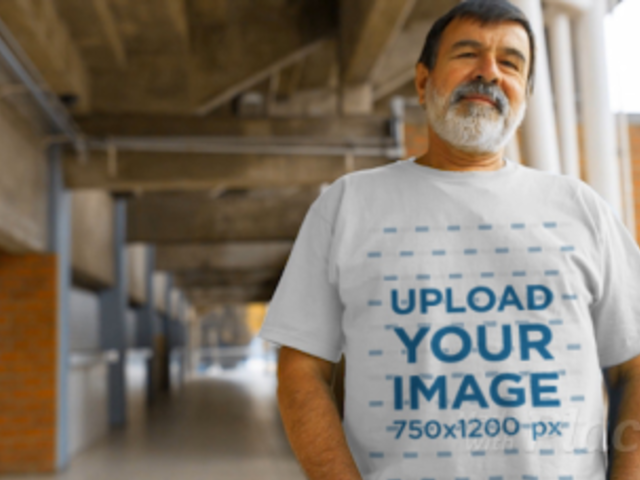 T-Shirt Video Featuring a Senior Man Standing on a Hallway 12766