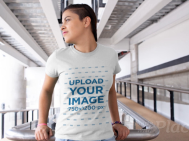 T-Shirt Video of a Woman with a Sidecut Hairstyle 12983