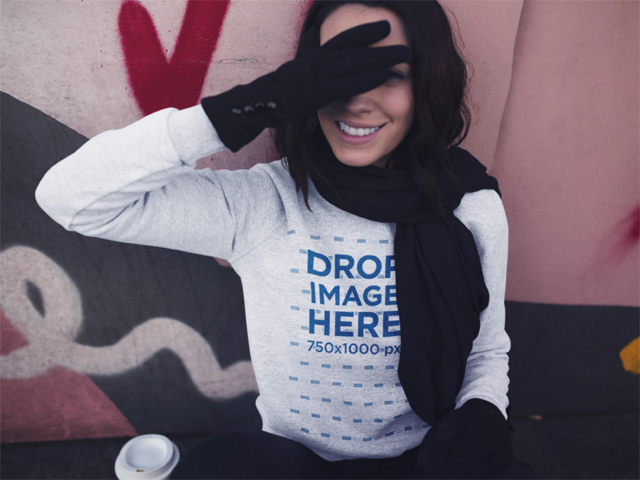 Winter Crewneck Mockup of a Young Woman with Short Hair Covering her Face a13175