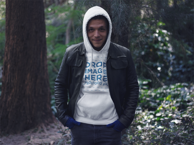 Pullover Hoodie Mockup Featuring a Guy in the Woods a13196