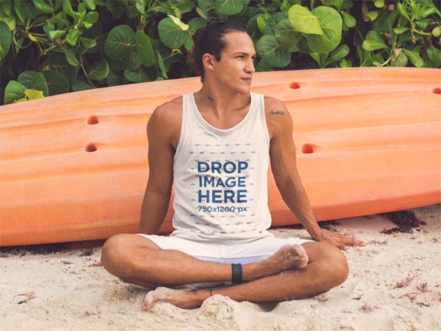 Surfer Guy Sitting in the Sand on the Beach Tank Top Mockup a12737