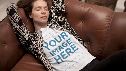 Stop Motion T-Shirt Video Mockup of a Young Woman Relaxing on a Couch a13157
