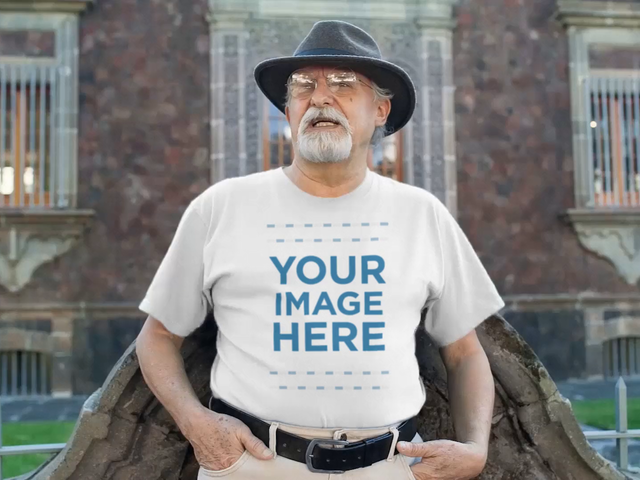 Senior Man Wearing a Hat and Round Neck T-Shirt Talking to Someone Video Mockup a12784-121916