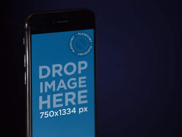 Front Angled Close Up View of a Black iPhone Mockup in Portrait Position b12753