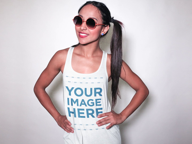 Tank Top Stop Motion Video Mockup of a Trendy Girl with Pigtails and Sunglasses Smiling a13183-122016