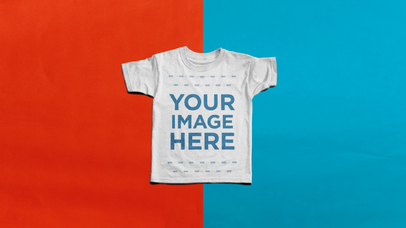 Stop Motion Tee Video Mockup of a T-Shirt Spinning Over a Blue and Red Background a13223-122216