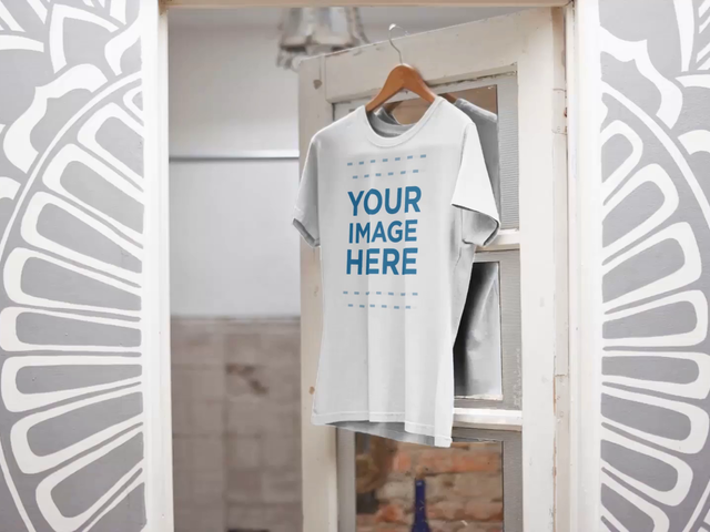 Video Mockup of a Simple T-Shirt Hanging Over a Closet Door Closing a13139-122316