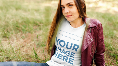 Young Woman in a Field Wearing a Round Neck T-Shirt Stop Motion Video Mockup a13312-122316
