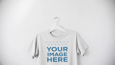 T-Shirt on a Hanger Mockup Top to Bottom Video Over a White Background a13090-122316