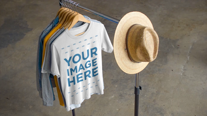 Video Mockup of a T-Shirt Hanging on a Clothing Rack in a Store a13082-122316