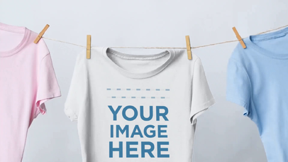 Mockup Video of a Round Neck T-Shirt Hanging on a Clothing Line a13084-122316