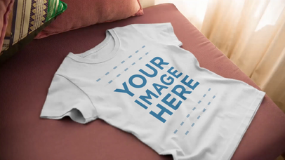 Closeup Video Mockup of a Round Neck T-Shirt Spread Over a Sofa a13088-122316