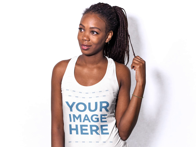 Beautiful Black Woman Wearing a Scoop Neck Tank Top Mockup Video a13371-122616