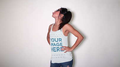 Fun Girl with Glasses Blowing a Bubble and Wearing a Scoop Neck Tank Top Mockup Video a13184-122616