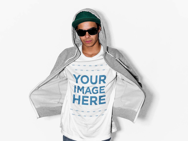 Cool Guy Wearing a Zip-Up Hoodie and Sunglasses T-Shirt Mockup Video a13228-122616