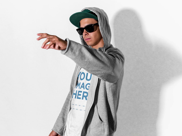 Guy Wearing a Zip-Up Hoodie with a T-Shirt and Sunglasses Pointing Stop Motion Mockup Video a13213-122716