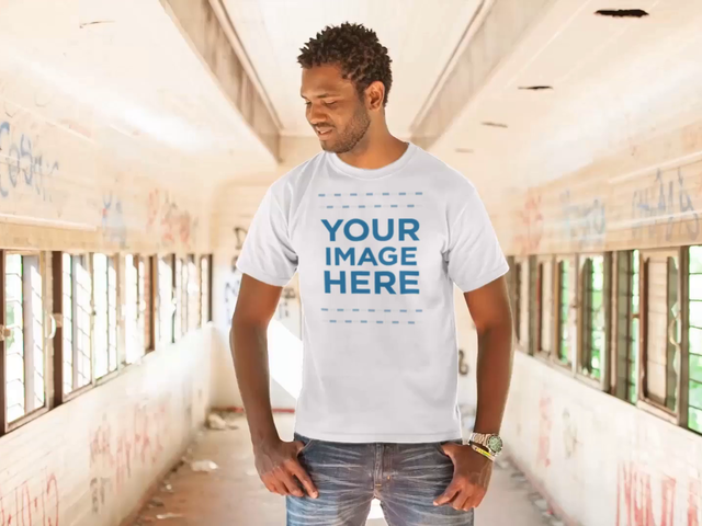 Young Black Man Standing in an Old Wagon Wearing a Round Neck T-Shirt Mockup Video a12778-122816